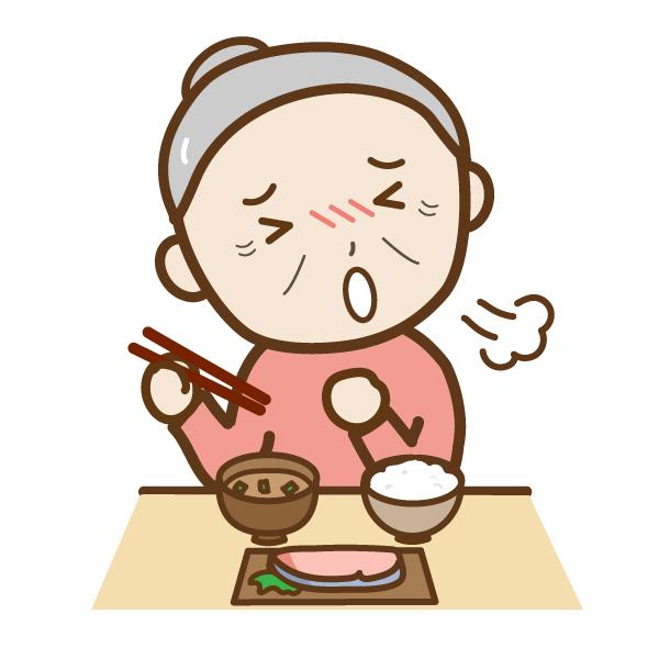 高齢者が食事中にむせたときの対処法