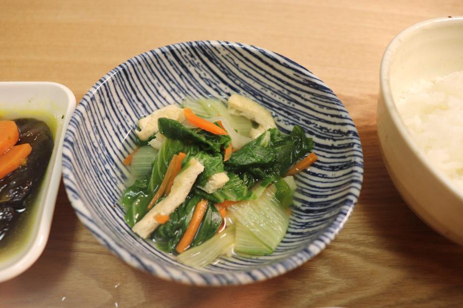 しろ菜とうす揚げの煮浸しん